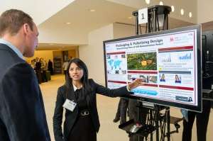 Bea Querido, master's student in the MIT Zaragoza Logistics and Supply Chain Management Program (ZLOG), presents her project on streamlining packaging design for humanitarian logistics. Bea won best poster for the ZLOG program.